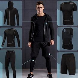 Gym Jogging Suit Men Canada - 2017 New High Quality Men Sports Running Sets Quick Dry Basketball Jogging Suits Compression Sports Gym Fitness Training Clothes