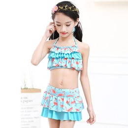 sexy girl wearing swim wear NZ - 2018 Latest Bikini Swimwear Girl Children Swimsuit Children Swimming Wear Skirt Sexy Bikini Swimsuit Kids Floral Bathing Suit