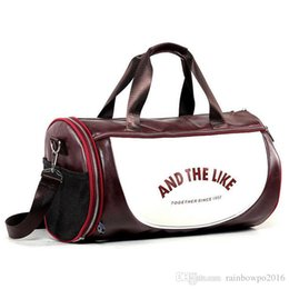 Color Leather Bags Australia - outlet brand package outdoor leisure leather fitness bag large capacity portable sports bag trend Korean version color leather travel bag