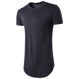 Discount long sleeve curve hem tee men - New Trends Men T shirts Super Longline Long Sleeve T-Shirt Hip Hop Arc hem With Curve Hem Side Zip Tops tee