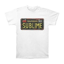 Neck Plate NZ - T Shirt Casual Sublime Men'S License Plate White Short Sleeve Men Fashion 2018 Crew Neck Tee Shirts