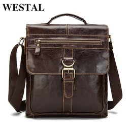 Discount male laptop bags - WESTAL Genuine Leather Bag Men leather Bags Messenger Bag Laptop Male Man Casual Tote Shoulder Crossbody bags Handbags M