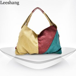 Discount minimalist handbags - Leeshang Fashion Canvas Handbag Women Zip Fashion Hand Bag Hobos Bolsa Minimalist Patchwork Totes Shoulder Women Bag Cro