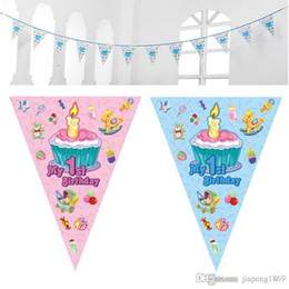 $enCountryForm.capitalKeyWord Canada - 1sets My 1st birthday cake paper flag Kids children birthday party Banner hang Pennant Banner Decor Supplies flags party supplie