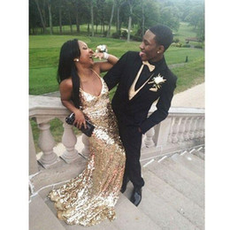 2k15 mermaid prom dresses NZ - 2018 New Couples Fashion Prom Dresses Long Sexy Gold Sequins V Neck Dresses Evening Wear 2K15 Party Gowns