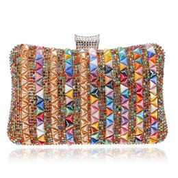 Discount crystal clutch hard bag - Mixed Color Crystal New Rhinestone Hasp Evening Bags Diamonds Wedding Handbags Women Day Clutch Mini Purse Bag with Chai