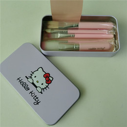 $enCountryForm.capitalKeyWord NZ - New Professionals 7Pcs Set Hello kitty Cosmetic Brush Kit Makeup Brushes Pink iron Case Toiletry beauty appliances makeup brush free DHL.