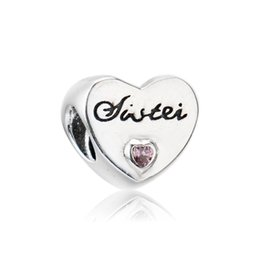 f230a8ad6 Authentic 925 Silver Beads Sister's Love Charm, Pink CZ Fits European  Pandora Style Jewelry Bracelets & Necklace