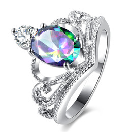 $enCountryForm.capitalKeyWord UK - Top Quality Crown Design Ring Luxury White Gold Color Rings for Women Fashion Colors Austria Zirconia Crystal Wedding jewelry