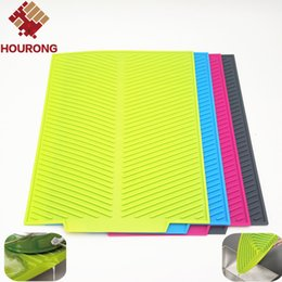 kitchen heat resistant mats Australia - Wholesale- Hourong 1Pc Rectangle Dish Drying Mat Antibacterial Dishwaser Safe Kitchen Tools Silicone Heat Resistant Mat