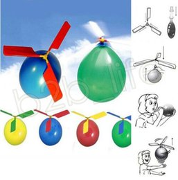 Diy balloons online shopping - flying Balloon Helicopter DIY Classic Sound balloon airplane Toy children Toy self combined Balloon Helicopter kids toys GGA579 sets