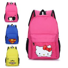 61ab9828ed Children School Bag Cartoon Hello Kitty Superman Backpacks For Primary  School Student Boys Girls Boys Kids Gift 6-12 Years Old