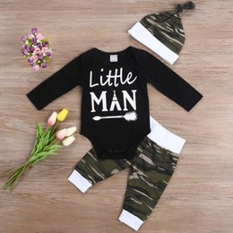 Discount man baby romper - Camouflage Newborn Baby Boy Clothes Little Man Long Sleeve O Neck Cotton Romper Playsuit Tops Pant Hat Kid Clothing Set