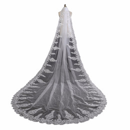 $enCountryForm.capitalKeyWord UK - wholesale Wedding Veil Crystal Long Veils Cathedral Lace Beaded Veils Bridal Ivory Wedding Accessory BL12