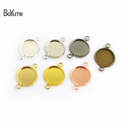 Round Copper Trays UK - BoYuTe 50Pcs Round 10-12-14-16-18-20-25MM Cameo Cabochon Base Setting Diy Connector Charms Blank Tray Jewelry Findings (Antique Bronze)