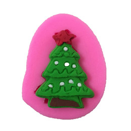 Silicone Christmas Fondant Mould UK - Candy Christmas tree Shaped Silicone Mold Cake Decoration Fondant cookies tools Pink Color 3D Silicone Mould