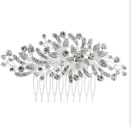 Butterfly hair comB wedding online shopping - New Crystal Butterfly Flower Hair Combs Charm Women Bridal Wedding Hair Accessories Headwear Luxury Quality Hair Jewelry