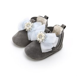Toddler Moccasins Wholesale Australia - Winter Baby moccasins Hard Sole Keep Warm With Fur Shoes Bowknot Bling Crystal Pu suede leather Leopard Toddler Baby Girl