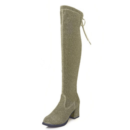67cb12135c1 Green Over Knee Boots UK - 2018 autumn new round head thick with fashion  wild bright