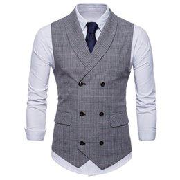Grey color suit male online shopping - Fashion England Wind Men s Business Vest Men Cotton Leisure Plaid Small Slim Vest For Male Style Grey Coffee casual Suit Vest Hot Sale