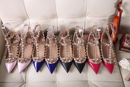 $enCountryForm.capitalKeyWord Canada - 2018 Fashion Luxury brands Women Rivet Shoes Flats Genuine Leather Ankle Strap Pointed Toe Studded valentine Shoes Ballerinas free shipping