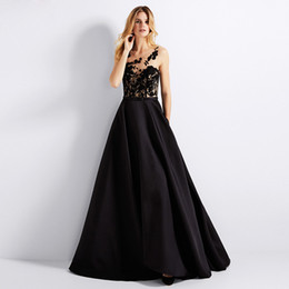 $enCountryForm.capitalKeyWord UK - 2018 Stunning Evening Dress Black Satin Prom Dress with Pockets Sheer with Floral Applique Buttons Back Formal Gowns