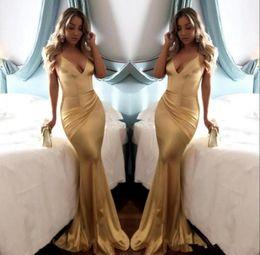 $enCountryForm.capitalKeyWord Canada - 2018 Cheap Simple Soft Satin Sexy V Neck Gold Mermaid Prom Dresses Backless Draped Spaghetti Strap Long Party Dress Evening Wear Custom Mad