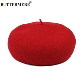 French Female hat online shopping - BUTTERMERE French Beret Woman Red Wool Flat Hat Female Elegant Warm Painters Hat Thick Casual Autumn Winter Classic Artist Cap