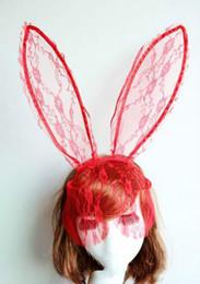 Masks Faces Australia - Hot Cosplay Face Eye lace Veil Mask Headband rabbit bunny long ear hairband Halloween Christmas party fancy dress ball Masquerade props gift