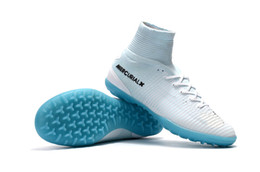 c7e34c2d4 White Blue CR7 Original Kids Indoor Soccer Shoes Mercurial Superfly V Turf Soccer  Cleats C Ronaldo Wholesale Football Boots