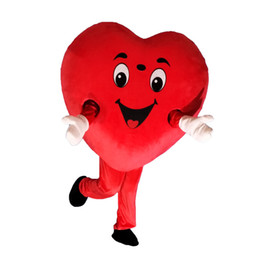red heart mascot 2019 - High quality red heart love mascot costume LOVE heart mascot costume free shipping can add logo