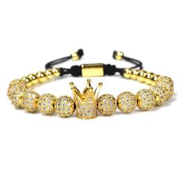 bfd7f453ddb2 1 unids Nuevo Diseño moda mujer CZ Imperial Crown Pulseras de color oro  Micro Pave CZ Mujeres Trenzado Macrame Pulsera joyería