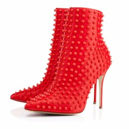 China Black Red Ankle Boots for Women 2018 Pointy Autum Winter Heels Rivets Extreme High Heel Booties Ladies Studded Shoes supplier booties heels for women suppliers