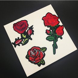 Chalk Machine Australia - 1 Pcs Top Patches Iron-on Sew-on Red Rose Flower Embroidery Patch Motif Applique Children Women DIY Clothes Sticker Wedding