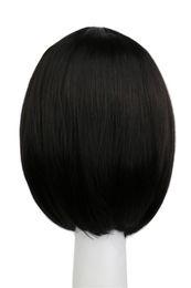 35 Hair UK - wig dark QQXCAIW Short Bob Straight Women Girls Natrual Black Light Dark Brown 35 Cm Synthetic Hair Wigs