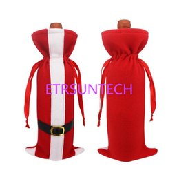 wine festival gifts 2019 - Christmas Red Wine Bottle Covers Santa Claus Clothes With Belts Cover for Bottles Xmas Festival Party Dinner Gift QW7721