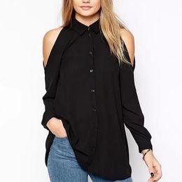 Discount plus size white button down shirt - Women off shoulder long shirts sexy chiffon tops turn down collar blouse Blusas Femininas long sleeve casual plus size L