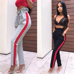 $enCountryForm.capitalKeyWord Canada - Women Paper Bag Waist Pants Womens High Waist Pencil Pants Spring Autumn Causal Long Trousers Belt Sweatpants Striped Slim Pant