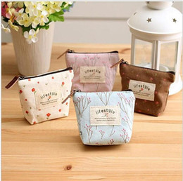 boys korean wallet Australia - New Korean Foral Printing Canvas coin purse Fresh Garden wind change pocket coin key small wallet organizer holder wallets cosmetic bag T385