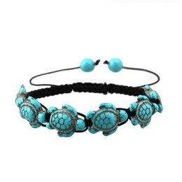 Wholesale Bohemia Style Adjustable Sea Tortoise Bracelets Green Natural Stone Beach Jewelry Decorations Charm Beaded Bracelet For Women