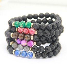 $enCountryForm.capitalKeyWord Australia - 8MM Black Lava Stone Beads Bracelet Essential Oil Diffuser Bracelet Sea Sediment Imperial Stone Hand Strings