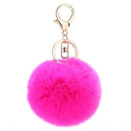 Artificial Chains Wholesalers UK - Fluffy Rabbit Fur Ball Key Chain Cute Cream Black Pompom Artificial Rabbit Fur Keychain Women Car Bag Key Ring