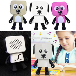 wholesale walking dog toys Canada - New Mini Wireless Bluetooth Speaker Dancing Robot Dog Stereo Bass Speakers Electronic Walking Toys Kids Gifts Speaker Party Favor WX9-195