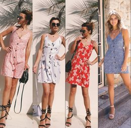Wholesale 2018 New Fashion Sexy Casual Dresses Women Summer Sleeveless Evening Party Beach Dress Short Mini Dress BOHO Women Clothing Apparel FS3471