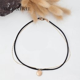 Double Layered Gold Necklace Canada - whole saleWILD & FREE Punk Women Black Suede Double Layered Choker Necklace Gold Chain Round Pendant Clavicle Fashion Necklace Jewelry