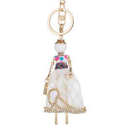 $enCountryForm.capitalKeyWord UK - French Doll Statement Flower Doll Keychain Dress Handmade Pendant Keyring Cute Girl Women Key Chain Ring For Bag Car Pendant