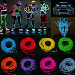 NeoN rope wire car online shopping - 5m Flexible Neon Light EL Wire Christmas Lighting Neon Rope Glow Strip Light for Car Bicycle Party Battery Case Controller CCA10042