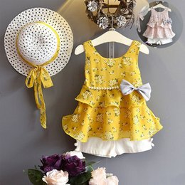 american boutique clothing Australia - Baby Floral outfits girls straw hat+Bow Pearl Chiffon top+shorts 3pcs set 2018 summer Boutique kids Clothing 2 colors C4127