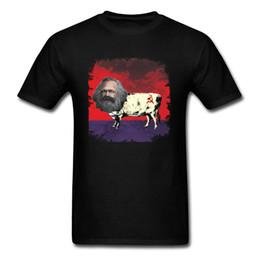 Discount vintage painting shirt - COW MARX FATHER OF COWMUNISM 2018 Funny College Men Black T-shirt Vintage Flag Painting Cotton Top T Shirt