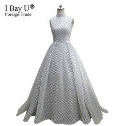 $enCountryForm.capitalKeyWord UK - Gorgeous Ivory Sequins Evening Dress Lace High Neck Puffy Formal Prom Dress Party Gown Robe De Soiree 2018